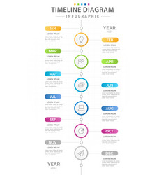Infographic 12 months modern timeline diagram vector