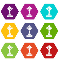 Irish celtic cross icon set color hexahedron vector