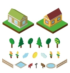 Isometric house3D Village landscape icons set vector image