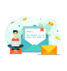 Man mail laptop chat workflow a new e-mail vector