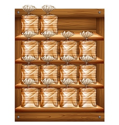Many bags of bread on wooden shelves vector image