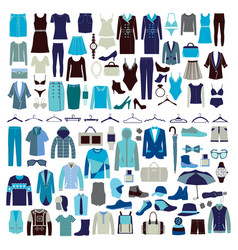 Men and women clothes icon set vector