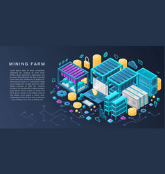 Mining farm concept banner isometric style vector