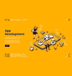 mobile app development isometric landing page vector image