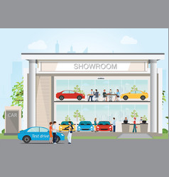 modern car dealership showroom with reception vector image
