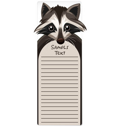 Note template with raccoon vector