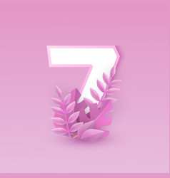 Number seven with pink tree vector