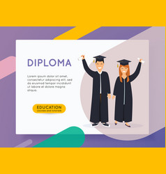 online education concept man and woman graduates vector image