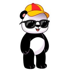 Panda in dark glasses and cap vector image