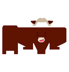 Party favor box musk ox design for sweets candies vector