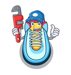 Plumber sneaker mascot cartoon style vector