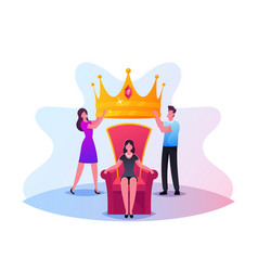 popularity fame concept tiny male and female vector image