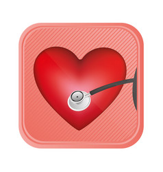 red heart doorbell icon vector image