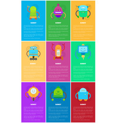 Robot and text samples set vector