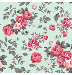 Rose Seamless Pattern Pink Mint vector image