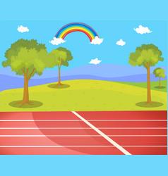 Running track in park scene vector