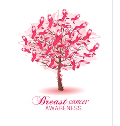Sakura tree with breast cancer awareness ribbons vector