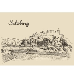Salzburg skyline Austria vintage hand drawn sketch vector