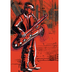 Sax player vector image