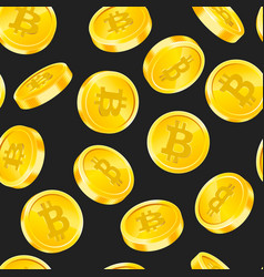 seamless pattern with bitcoin gold coins in vector image