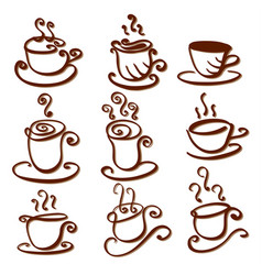 set abstract cup vector image