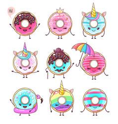 set colorful kawaii funny donuts vector image