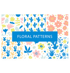Set of hand drawn colorful floral repeat patterns vector