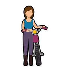 Sexy motorcyclist avatar character vector
