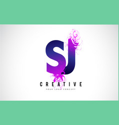 sj s j purple letter logo design with liquid vector image