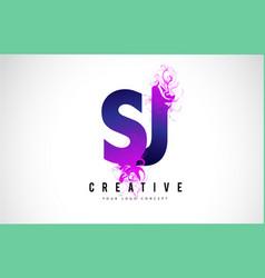 Sj s j purple letter logo design with liquid vector