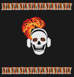 skull girl with red hair vector image