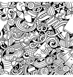 Sports hand drawn doodles seamless pattern line vector
