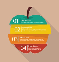 Step design of four part apple infographic vector