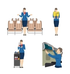 Stewardess serves passengers on the airplane vector