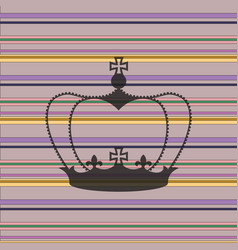 Striped background with a crown vector