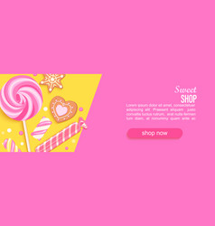 sweet shop horizontal banner with sweets cookies vector image