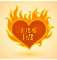 Symbol of burning heart with vector image vector image