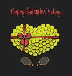 tennis balls laid out in the shape of the heart vector image