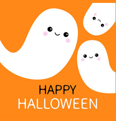 Three flying ghost spirit set happy halloween vector