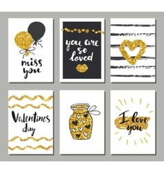 Valentines day set cards Calligraphy lettering vector