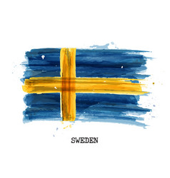 Watercolor painting design flag of sweden vector