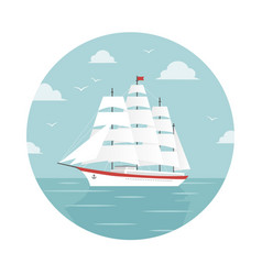white ship with sails at sea vector image