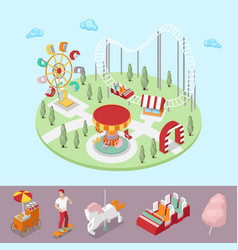 Amusement park with carousel ferris wheel vector