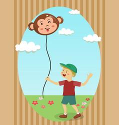 boy holding monkey balloon vector image vector image