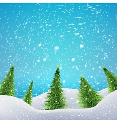 Christmas Forest with snowfall and drifts concept vector image vector image