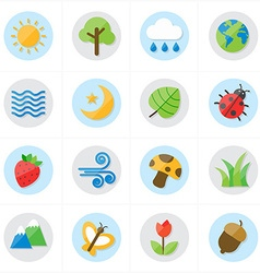 Flat Icons Nature and Tree Icons vector image vector image