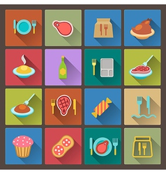 food icons in flat design style vector image