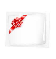 Holiday background with sheet of paper and red bow vector image vector image