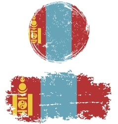 Mongolian round and square grunge flags vector image vector image
