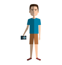 young man in beach suit with camera photographic vector image